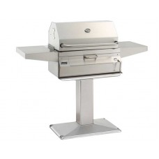 Fire Magic Charcoal Patio Post Mount Grill with Smoker Hood (24  x 18)
