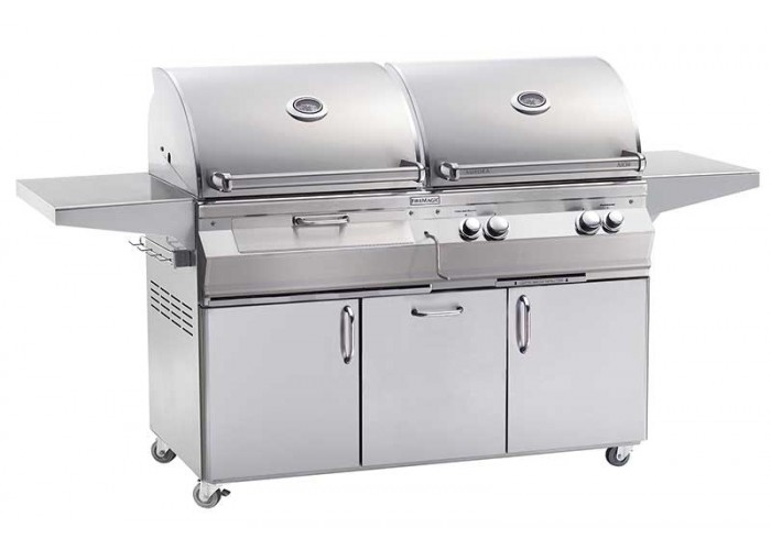Gas And Charcoal Combo Portable Grill With Rotisserie On
